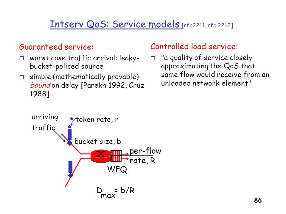 Intserv QoS: Service models [rfc2211, rfc 2212]